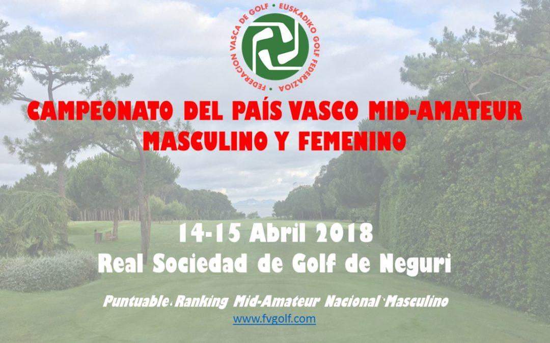 Nuevos horarios de salida Campeonato del País Vasco Mid Amateur