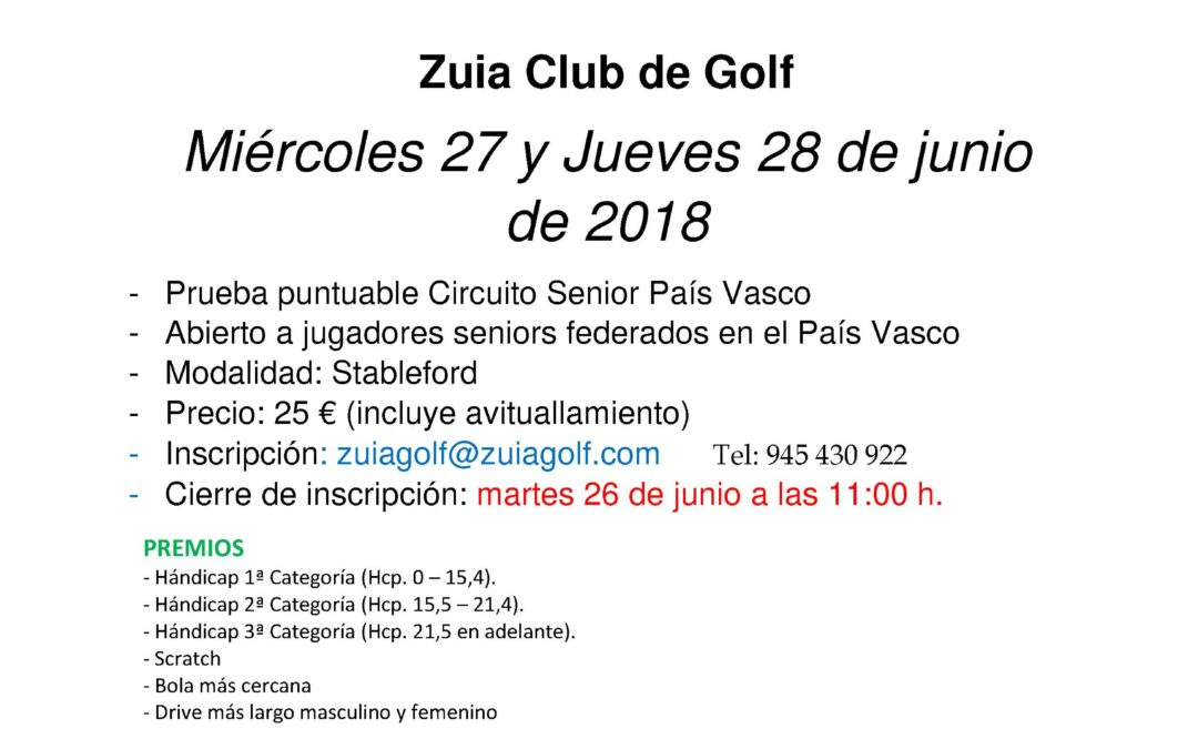 Horarios de Salida – Puntuable Circuito Senior – Zuia Golf