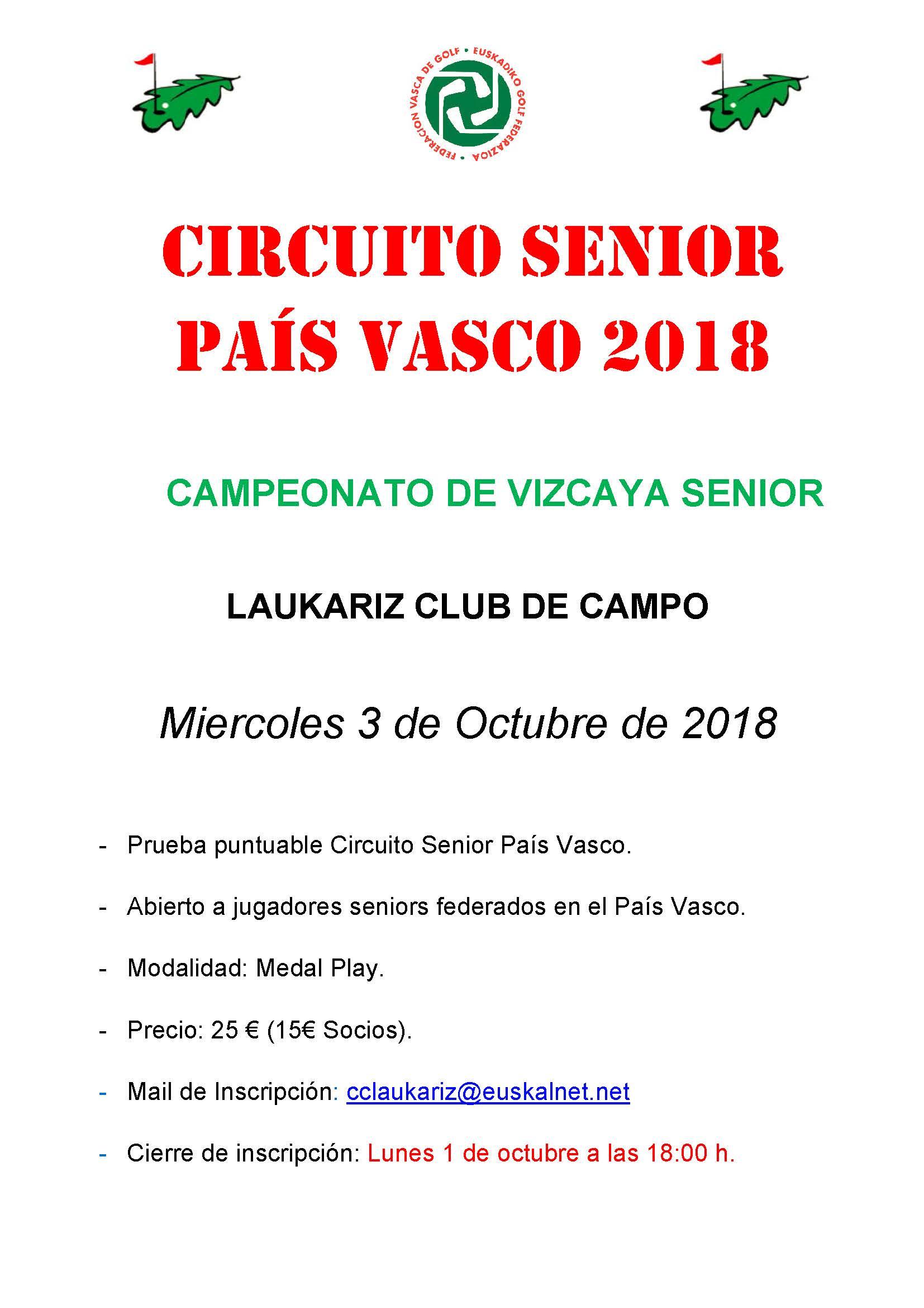Circuito And : Circuito senior país vasco 2018 federación vasca de golf
