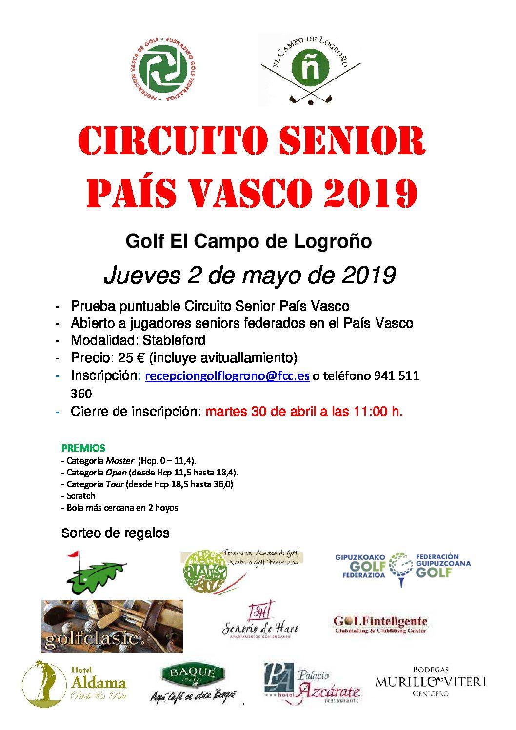 Inscripciones abiertas II Puntuable Circuito Senior País Vasco